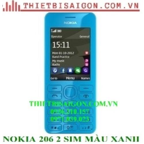Nokia 206 2 sim màu xanh