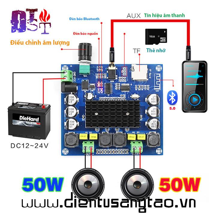 Mạch khuếch đại âm thanh Bluetooth 5.0 TPA3116 2x100W