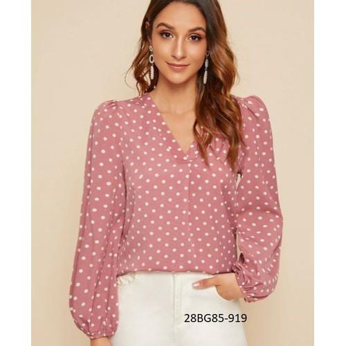 Bg85-919 áo kiểu hồng chấm bi cao cấp *40-90kg