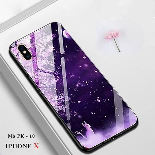 Ốp lưng iphone x mặt kính in hình 3d hoa anh đào