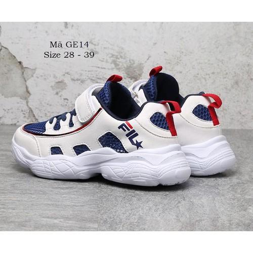 Giày thể thao bé trai 4 - 12 tuổi kiểu dáng sneaker màu trắng siêu chất ge14 - ge14