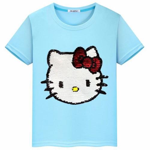 Áo thun cotton kim sa vuốt đổi màu hoạt hình kitty size đại