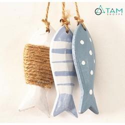 Chùm 3 con cá gỗ treo trang trí quấn dây thừng CG-05