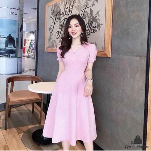 Đầm xoè hồng đính đá hoa siêu sang
