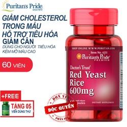 Viên uống giảm cân, giảm mỡ máu tinh chất men gạo đỏ Puritan's Pride Red Yeast Rice 60 viên
