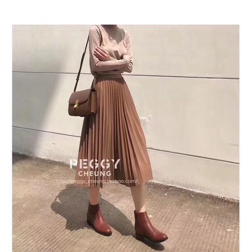 Chân váy xếp ly dài - chân váy xếp ly dáng dài