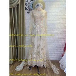 áo dài cưới da nude kim tuyến cao cấp đuoi dài