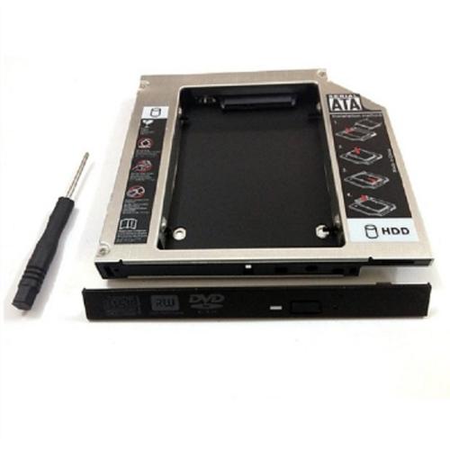 Caddy bay 9.5mm nhôm hdd,ssd 2.5 sata 3 - khay ổ cứng thay thế ổ dvd - mỏng kèm tô vít
