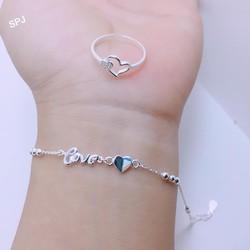 quà tặng sinh nhật bạn gái lắc tay bạc ta chữ love