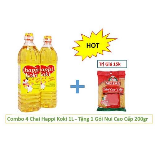 Combo 5 chai dầu happi 1l - tặng 1 gói nui cao cấp 200gr
