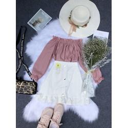 Set áo bẹt vai và chân váy đuôi cá thời trang
