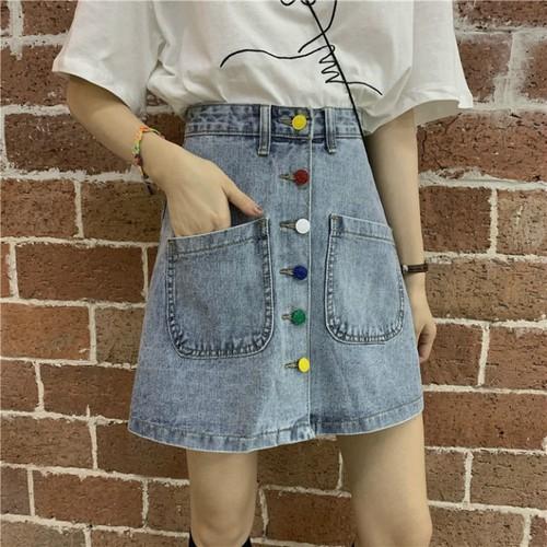 Chân váy jeans nhiều nút sắc màu mã: vn869
