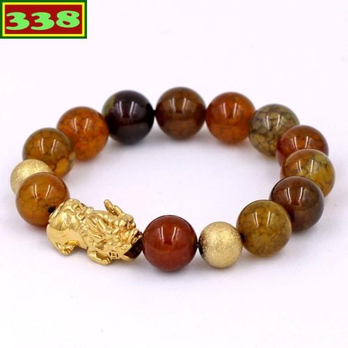 Vòng tay chuỗi hạt đá vân rồng 12 ly - chuỗi hạt đeo tay tỳ hưu inox vàng vvrthhbv12 - vòng tay phong thủy hợp mệnh kim, mệnh thổ