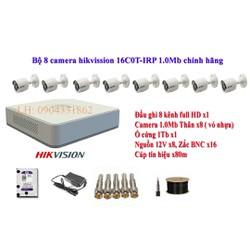 Trọn bộ 8 camera Hikvision 16C0T-IRP 1.0MP + đầu ghi DS-7108HGHI-F1 + ổ cứng 1TB, tên miền xem qua mạng trọn đời