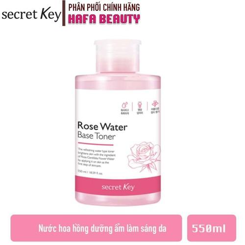 Nước hoa hồng dưỡng ẩm se khít lỗ chân lông secret key rose water base toner 550ml