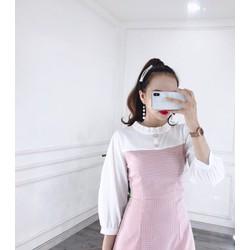 Đầm hồng nút gỗ