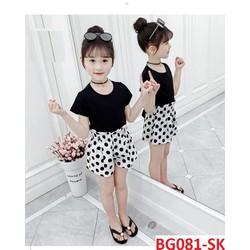 COMBO 2 bộ quần áo trẻ em mẫu quần chấm bi dành cho bé gái 8-18kg, chất vải đẹp