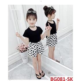 COMBO 2 bộ quần áo trẻ em mẫu quần chấm bi dành cho bé gái 8-18kg, chất vải đẹp - Combo 2 bộ quần chấm bi