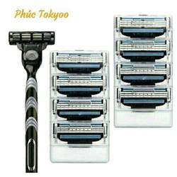 Dao cạo râu 3 lưỡi Fuji 3 (Combo 1 Cán + 8 lưỡi)