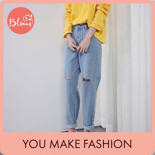 Quần baggy jean nữ đẹp bloom quần baggy rách gối lưng cao màu xanh nhạt tặng kèm thắt lưng