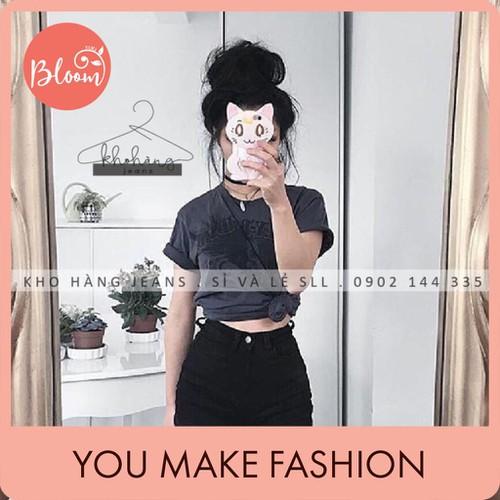 Quần short jean nữ đẹp bloom short jean denim trắng đen lưng cao big size tặng kèm thắt lưng