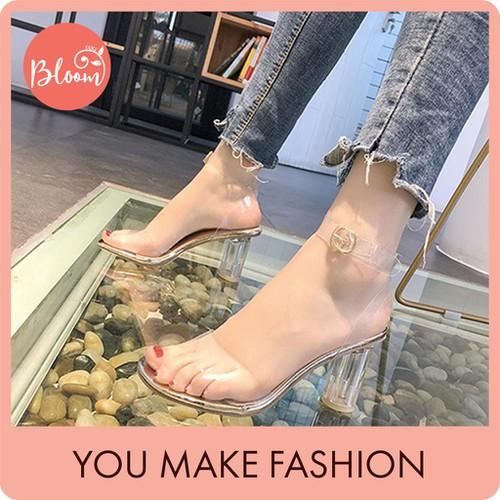 Giày cao gót nữ đẹp giày cao gót dự tiệc sang trọng bloom 7cm quai trong đế tròn hở đầu cao cấp tặng kèm thắt lưng