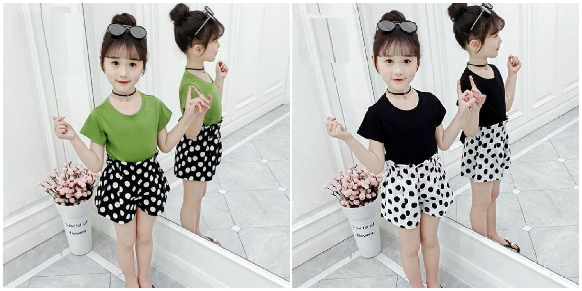 Set bộ quần áo mẫu quần chấm bi dành cho bé gái 1-5 tuổi thiết kế hợp thời trang, màu sắc tươi sáng