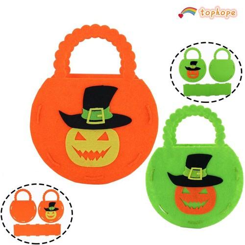 Túi vải không dệt với họa tiết hình quả bí ngô dùng trong trang trí halloween