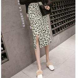 Chân váy họa tiết da beo xẻ tà Mã: VN900 - TRẮNG