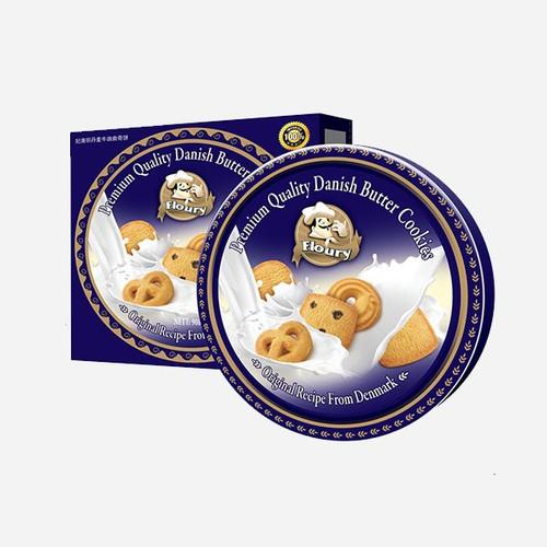 [ siêu sale] bánh quy bơ floury hộp sắt kèm túi xách  loại 454g