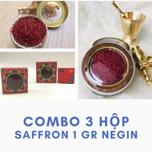Combo 3 hộp 0.5 gr saffron nhụy hoa nghệ tây chuẩn iran sợi to dài
