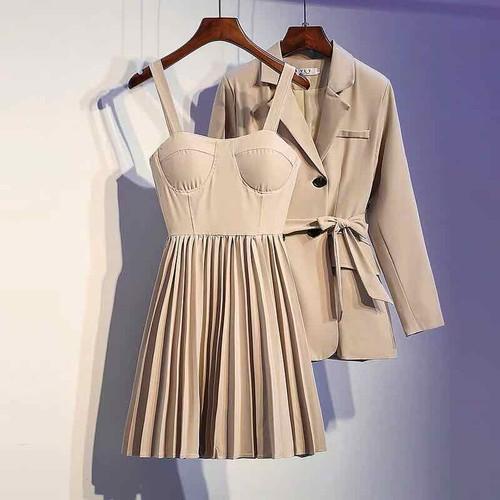 Vest kèm váy cup ngực xếp ply