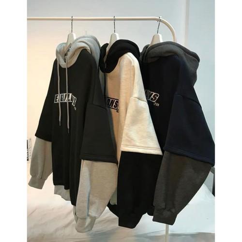 hàng cao cấpcho kiểm tra hàngnỉ da cá áo hoodie mix nối tay layer | khoác sweater nam nữ