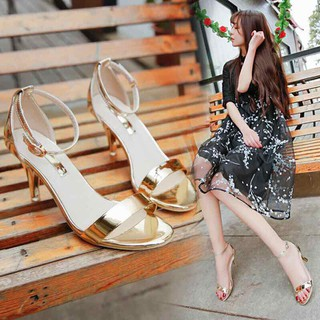 giày sandan cao gót 7p bản mành - da bóng siêu hót 2020 - 7p mành da bóng thumbnail