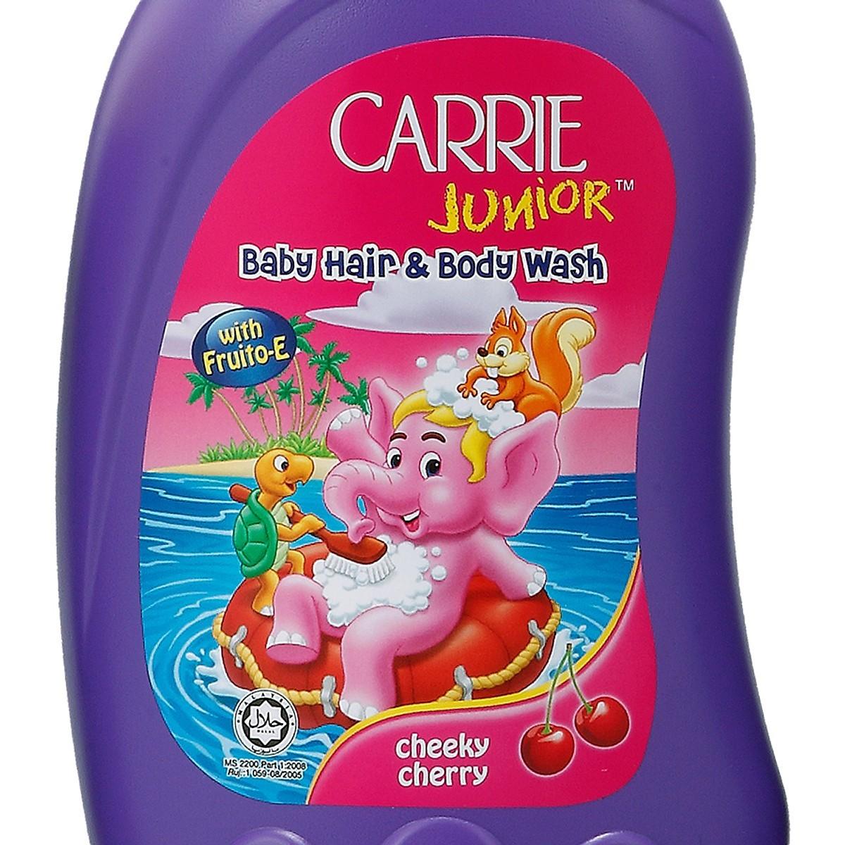 Bộ 2 sữa tắm gội cho bé Carrie Junior hương Cherry 1.4kg