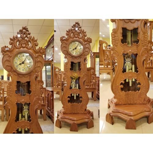 Đồng hồ cây đàn gỗ gõ đỏ-dh122
