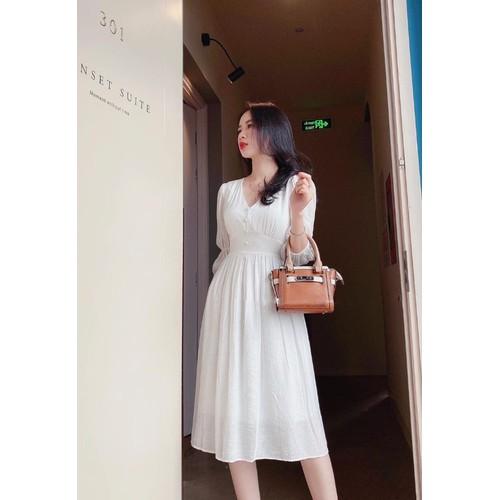 Đầm midi trắng cổ v bo eo cột nơ lưng