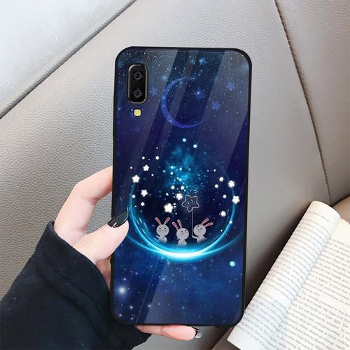 Ốp điện thoại kính cường lực cho máy samsung galaxy a7 2018 - a750 - thỏ mặt trăng ms abrdanh005