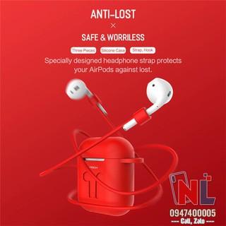 Ốp bảo vệ Airpods silicon chính hãng Rock kèm dây đeo - alopk2879 thumbnail