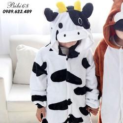 Bộ Đồ ngủ hình thú bò sữa liền thân lông mịn Pijama dành Cho Người Lớn và Trẻ Em kiểu dáng Động Vật Hoạt Hình Cosplay bibi68 1907