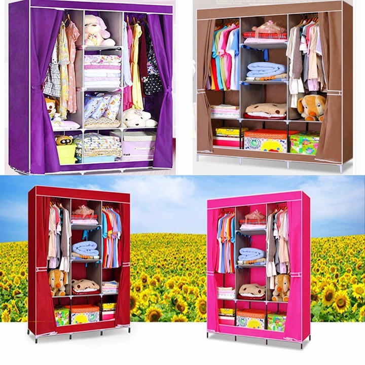 Hình ảnh Tủ quần áo vải 3 buồng khung sắt