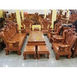 Bộ bàn ghế nghê đỉnh gỗ hương đá tay 14