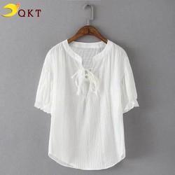 Áo kiểu nữ đan dây QKT màu trắng ngắn tay sm161