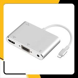 Bộ chuyển đổi Lightning to HDMI hoặc VGA có cổng tín hiệu âm thanh không cần cài đặt tiện lợi VT151