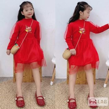 Váy thêu cho bé chơi tết từ 1 đến 5 tuổi