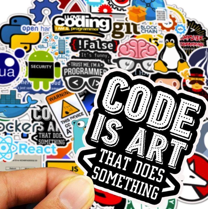 Sticker CODING nhựa PVC không thấm nước, dán nón bảo hiểm, laptop, điện thoại, Vali, xe,  Cực COOL #24