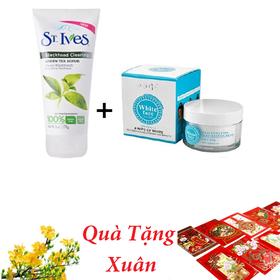 [Tặng 20 Bao Lì Xì Hot Trend] Sữa Rửa Mặt Tẩy Tế Bào Chết t St.Ives và Kem Dưỡng Trắng Da Mặt White Face Hàn Quốc - DJFF151