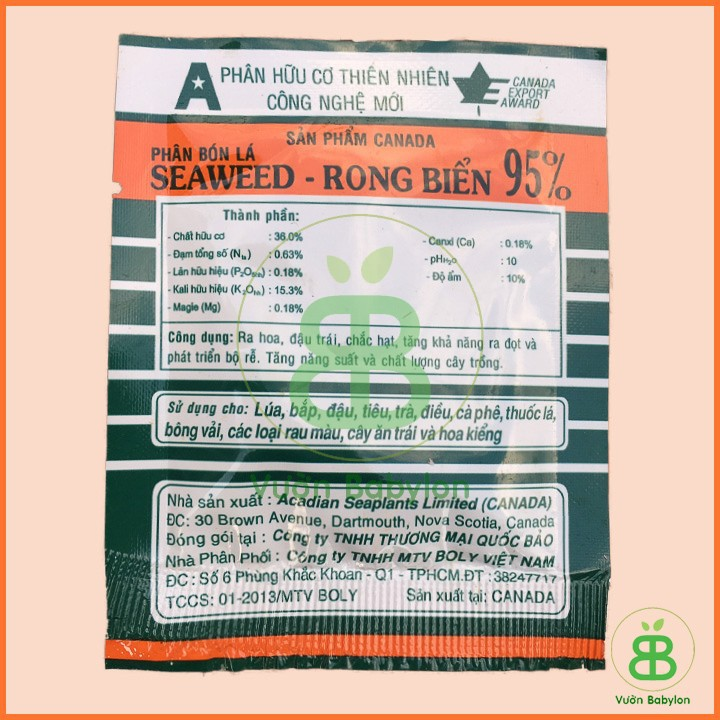 thành phần Phân Bón Seaweed Rong Biển Canada