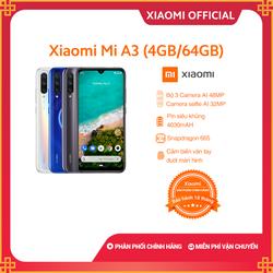Điện thoại Xiaomi Mi A3 4GB64GB - Hàng chính hãng - Bảo hành điện tử 18 tháng - M1906F9SH