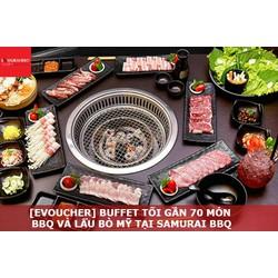 HCM [Voucher Điện Tử] Buffet Tối Gần 70 món BBQ và Lẩu Bò Mỹ - Hải Sản và Sushi – Tặng Buffet Kem tại nhà hàng Samurai BBQ